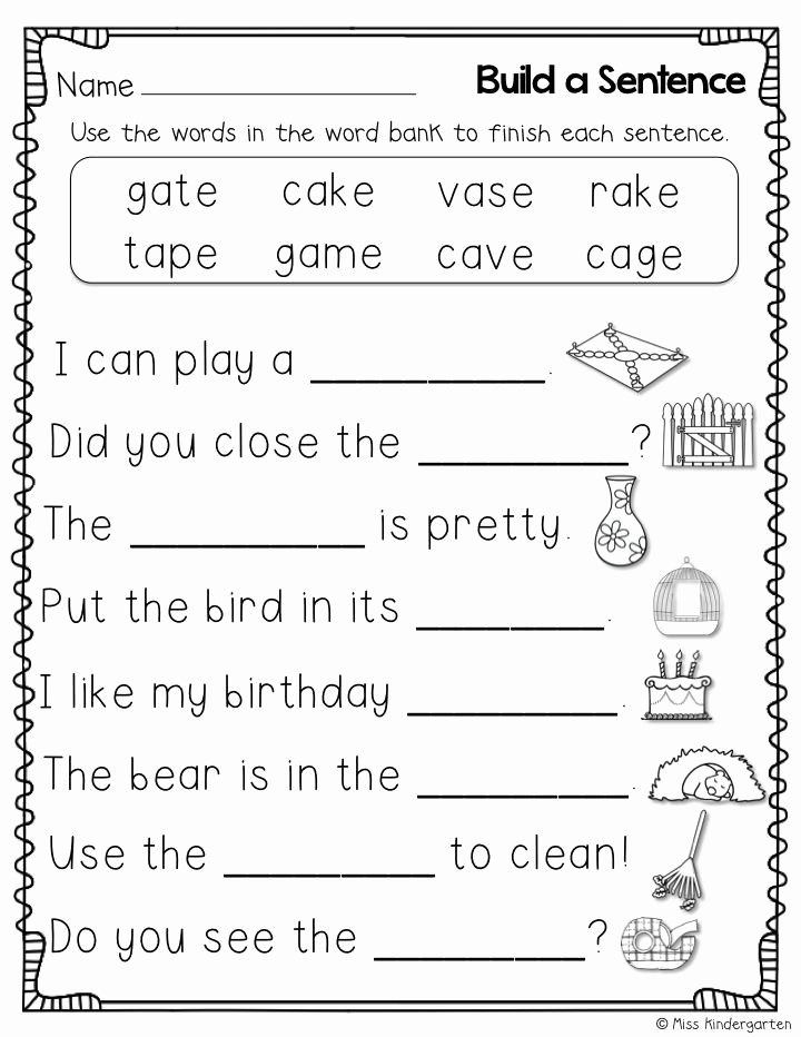 "Long Vowel Silent E Worksheets New Build Sentences Using Words with the Silent ""e"""