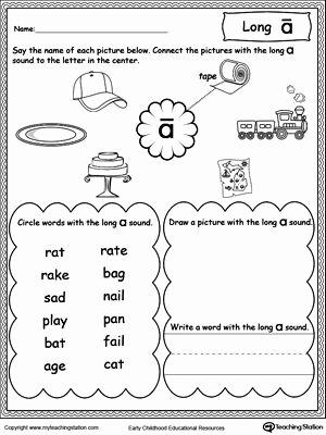 Long Vowel Worksheets First Grade Best Of Long A sound Worksheet