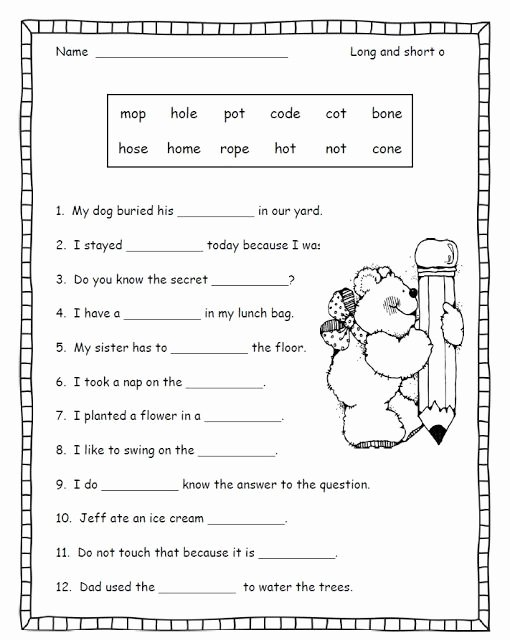 Long Vowel Worksheets First Grade Inspirational Long A Worksheets for Second Grade