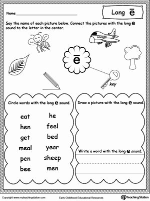 Long Vowel Worksheets First Grade Kids Long E sound Worksheet