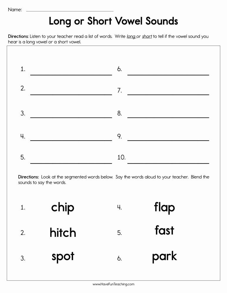 Long Vowels Worksheets First Grade Free Long or Short Vowel sounds Worksheet