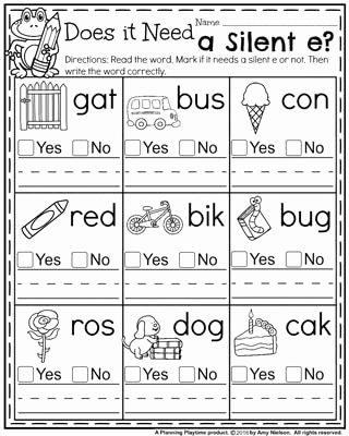Long Vowels Worksheets First Grade Kids Back to School First Grade Worksheets Planning Playtime