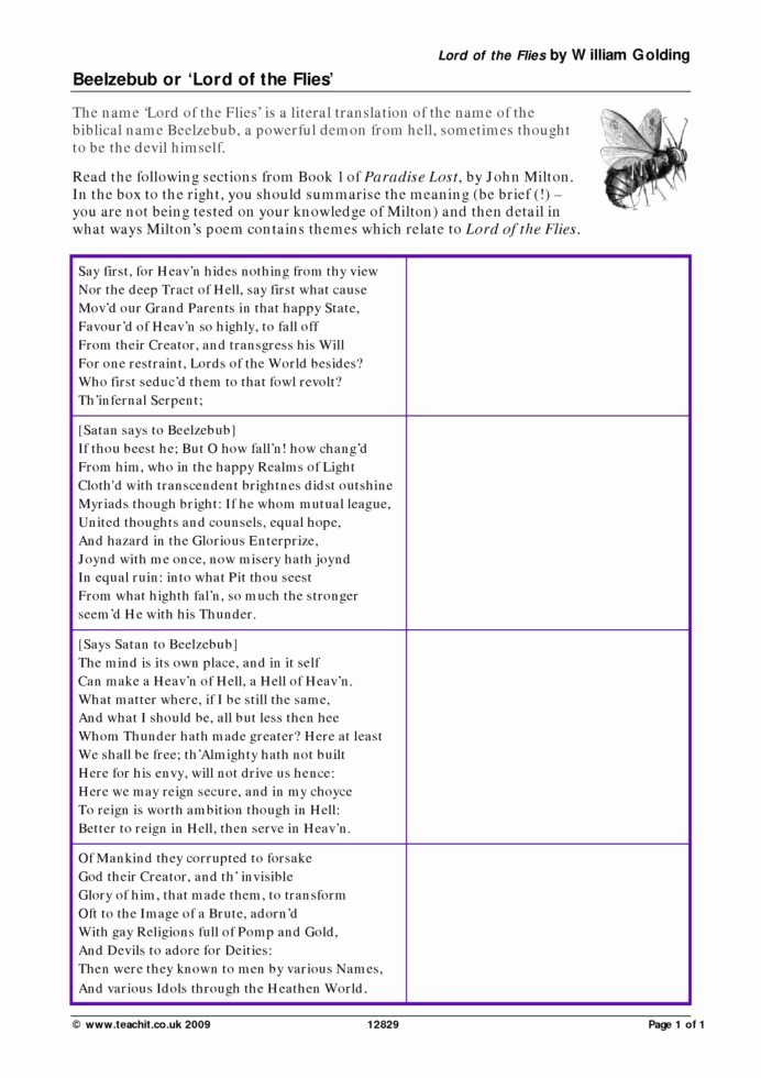 Lord Of the Flies Worksheets Best Of Beelzebub Lord the Flies Activities Worksheets Sample
