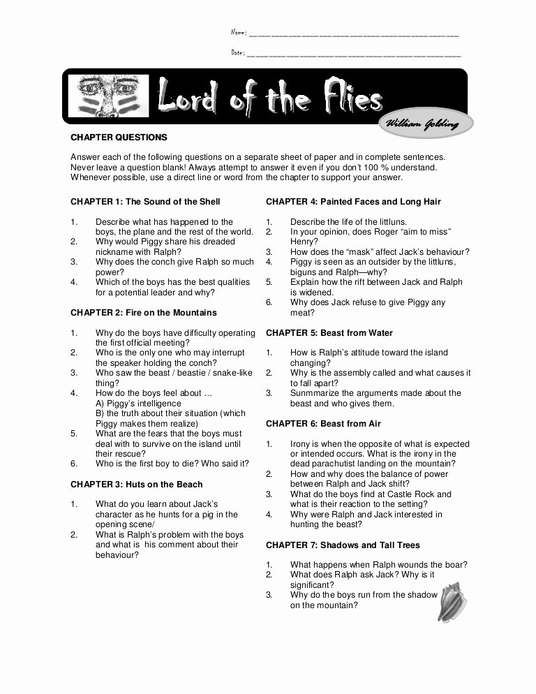 Lord Of the Flies Worksheets Lovely Chapter Questions Lord Of the Flies