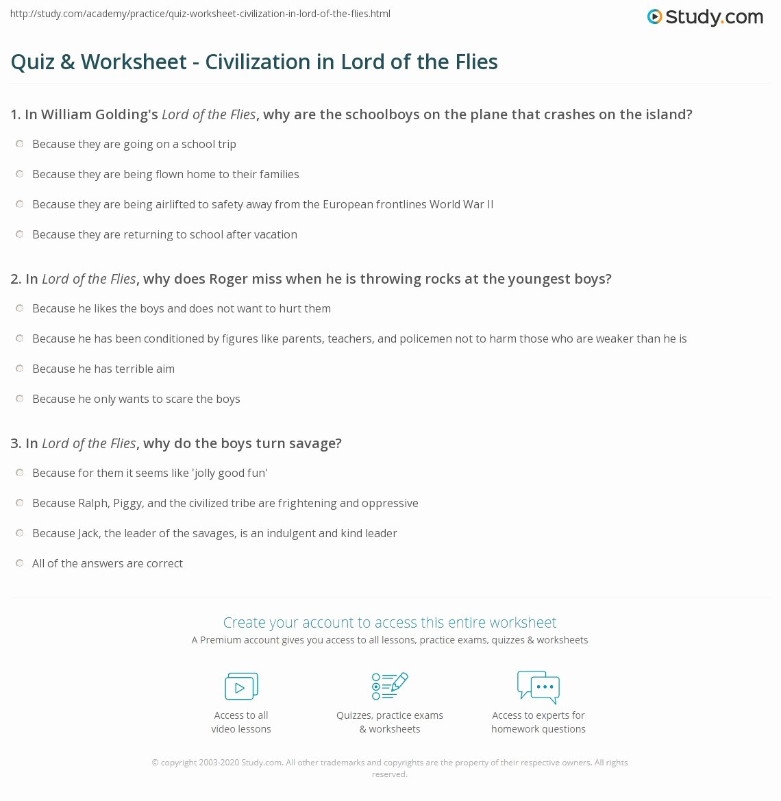Lord Of the Flies Worksheets New Quiz & Worksheet Civilization In Lord Of the Flies