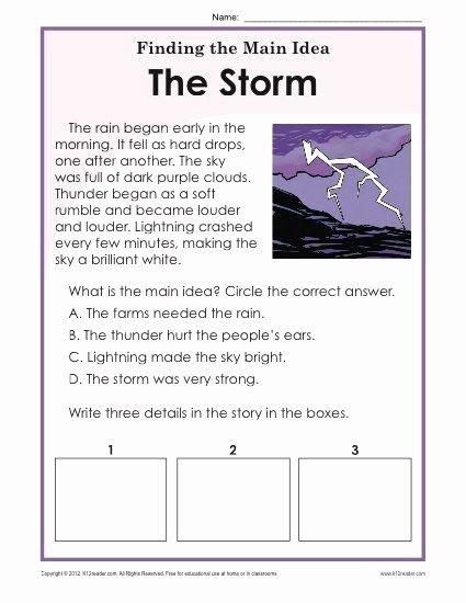 Main Idea 2nd Grade Worksheet Lovely 1st or 2nd Grade Main Idea Worksheet About Storms