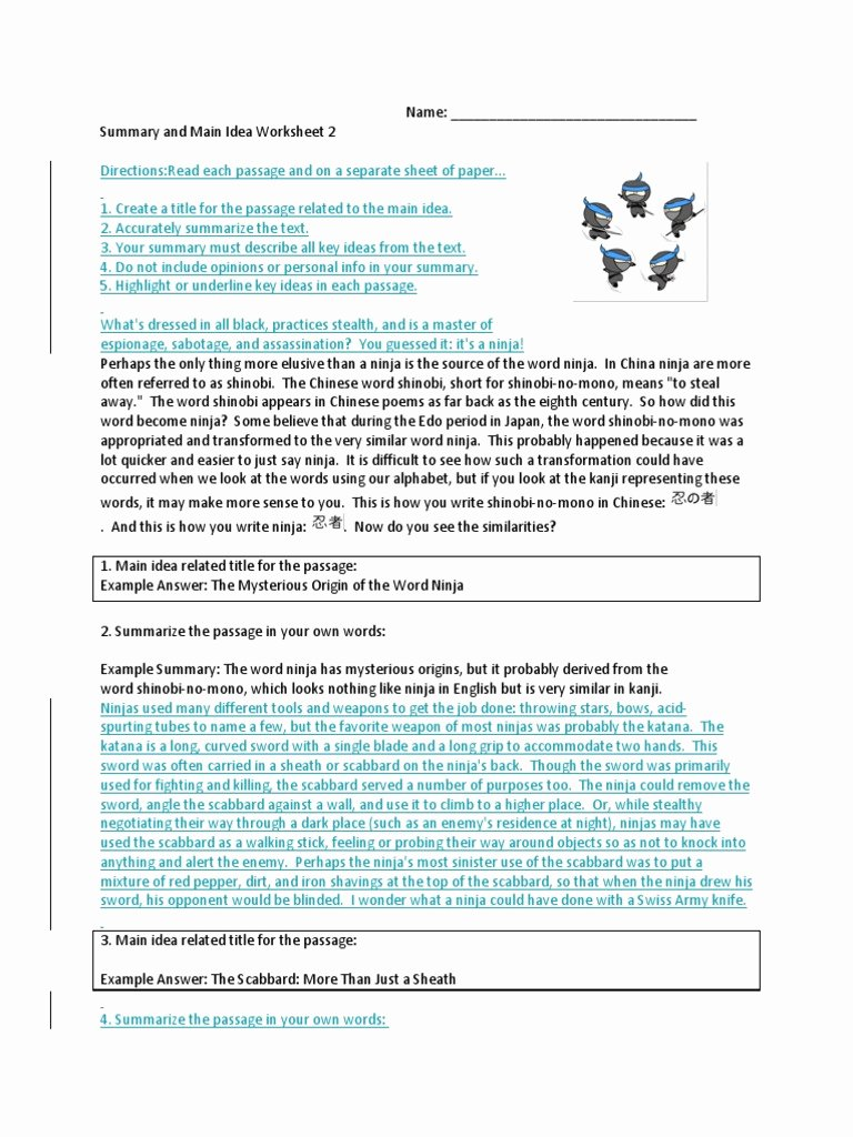 Main Idea and Summary Worksheets New Summary and Main Idea Worksheet 1 Promotiontablecovers