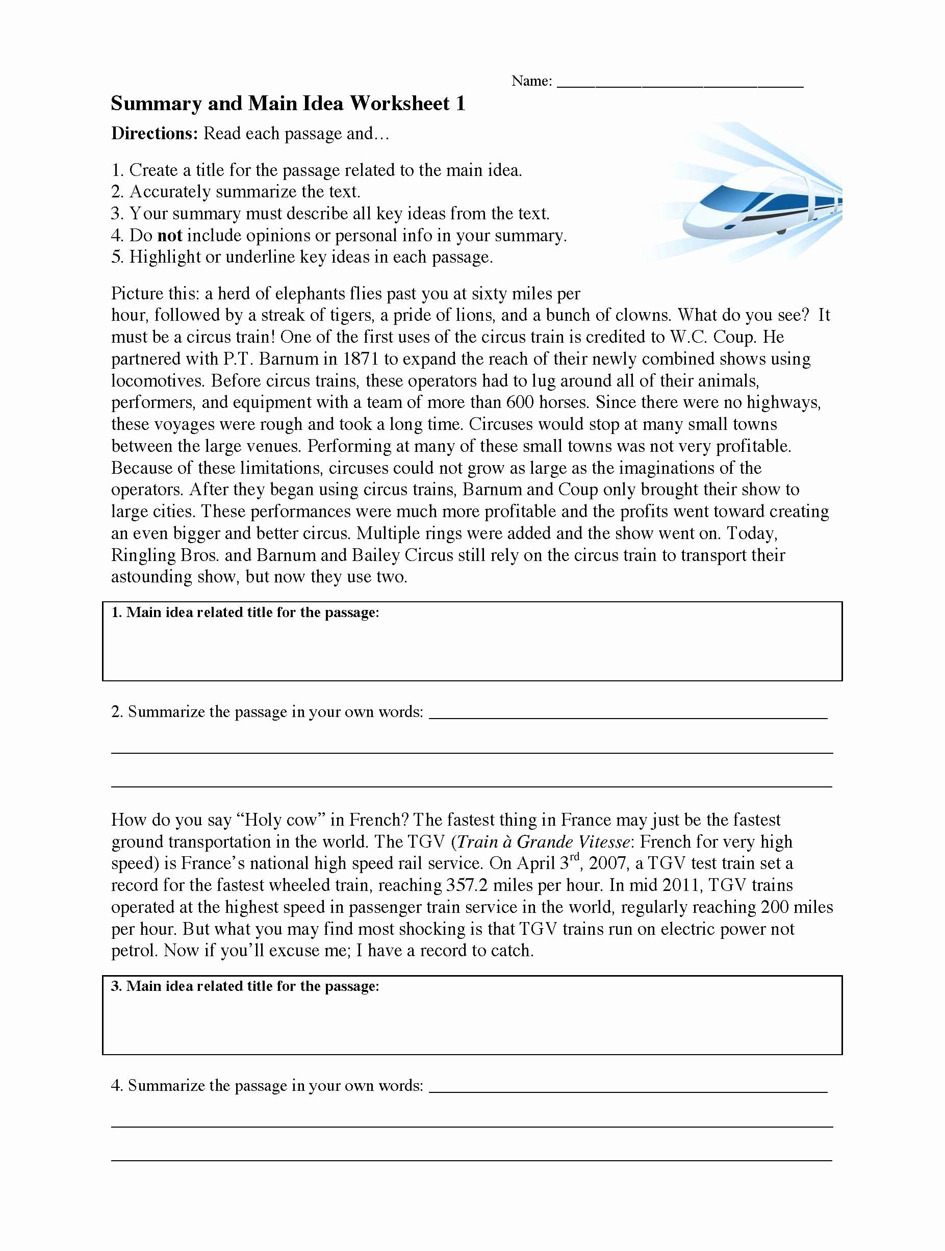 Main Idea and Summary Worksheets Printable Summarizing Worksheet 1