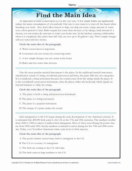 Main Idea and theme Worksheets Free High School Main Idea Reading Passage Worksheet