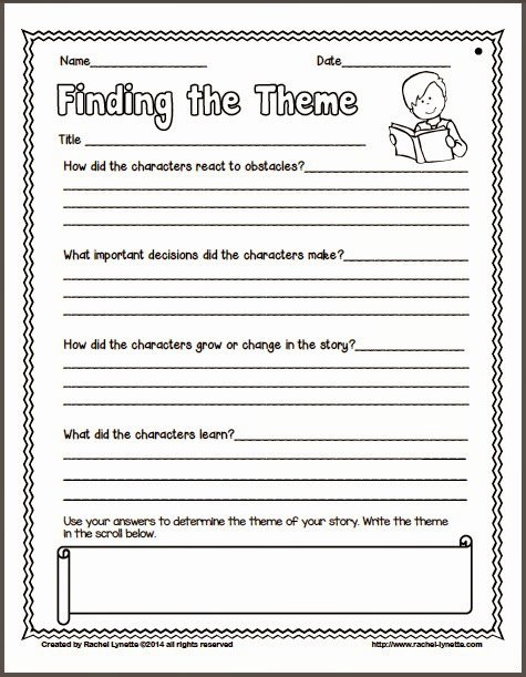 Main Idea and theme Worksheets Free Ideas for Teaching theme and Couple Freebies Minds In Bloom