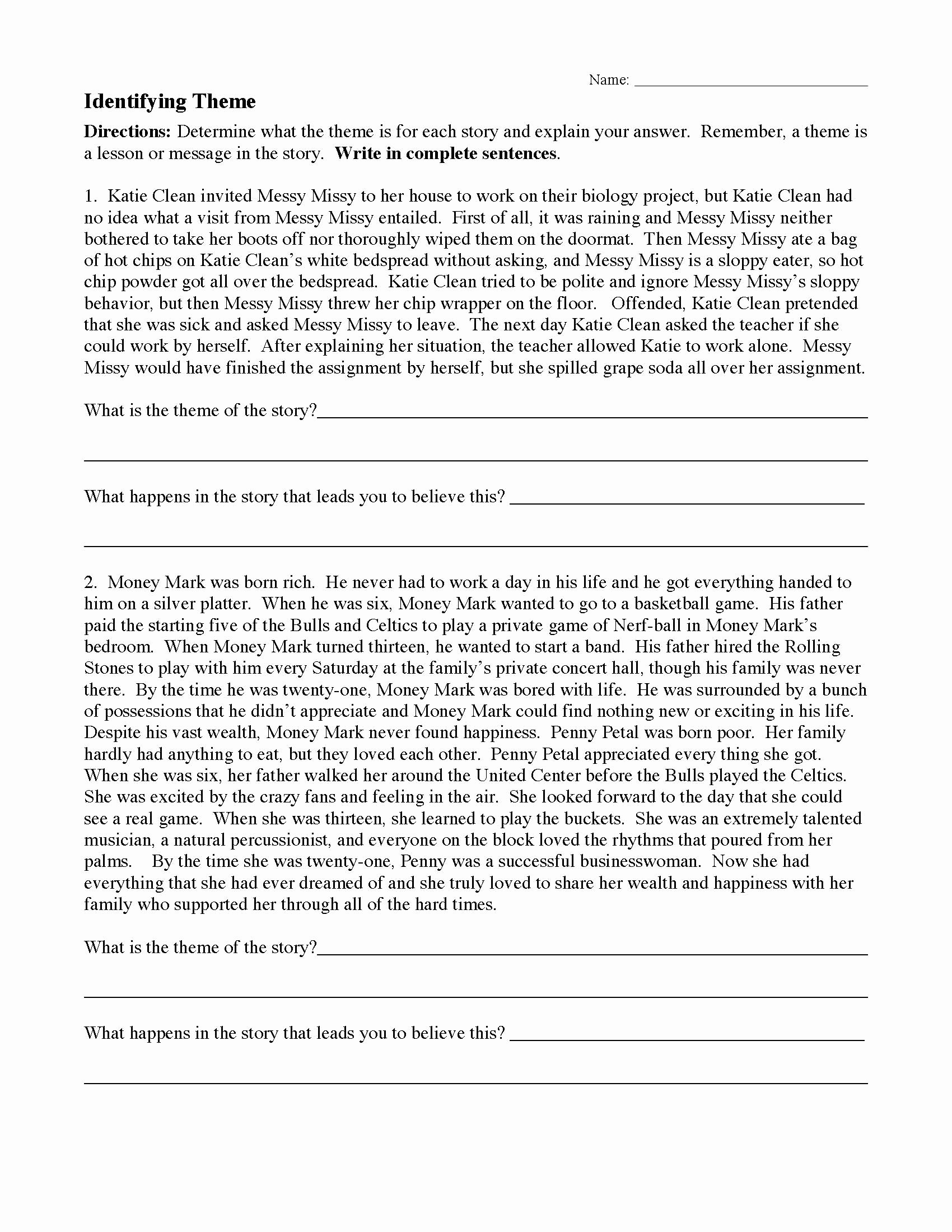 Main Idea and theme Worksheets Ideas theme or Author S Message Worksheets