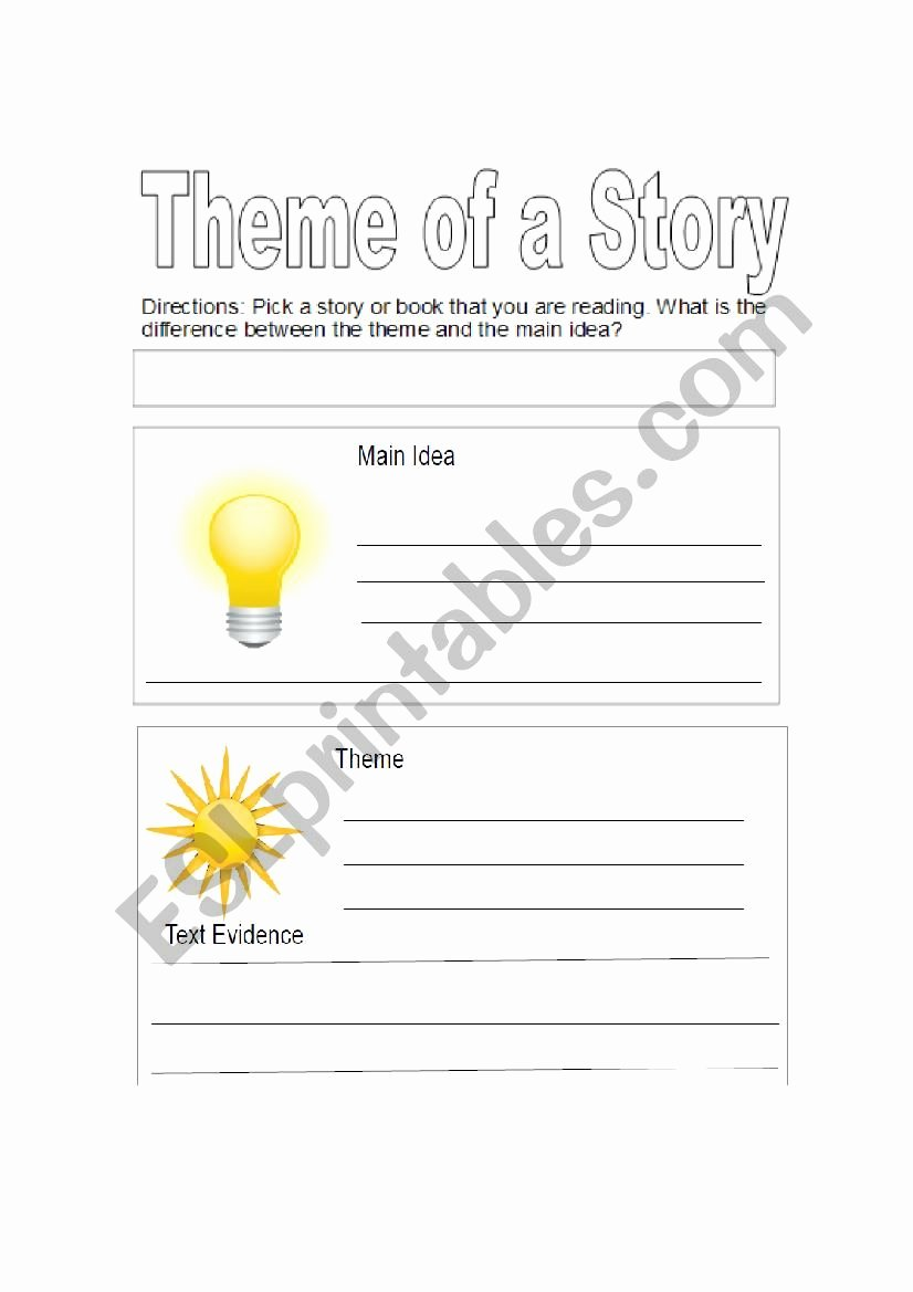 Main Idea and theme Worksheets New theme Vs Main Idea Esl Worksheet by Jfeldman175