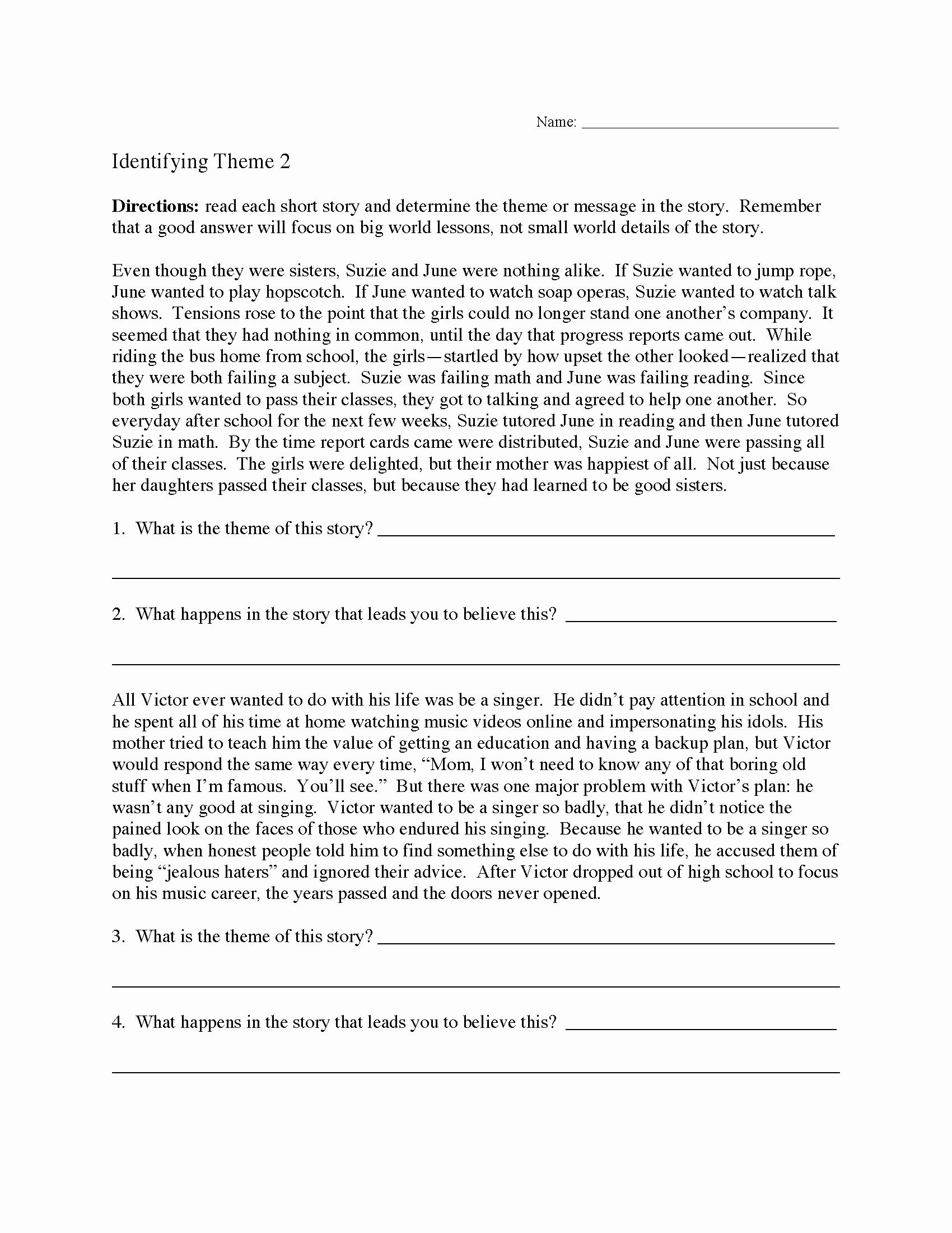 Main Idea and theme Worksheets top theme or Author S Message Worksheets