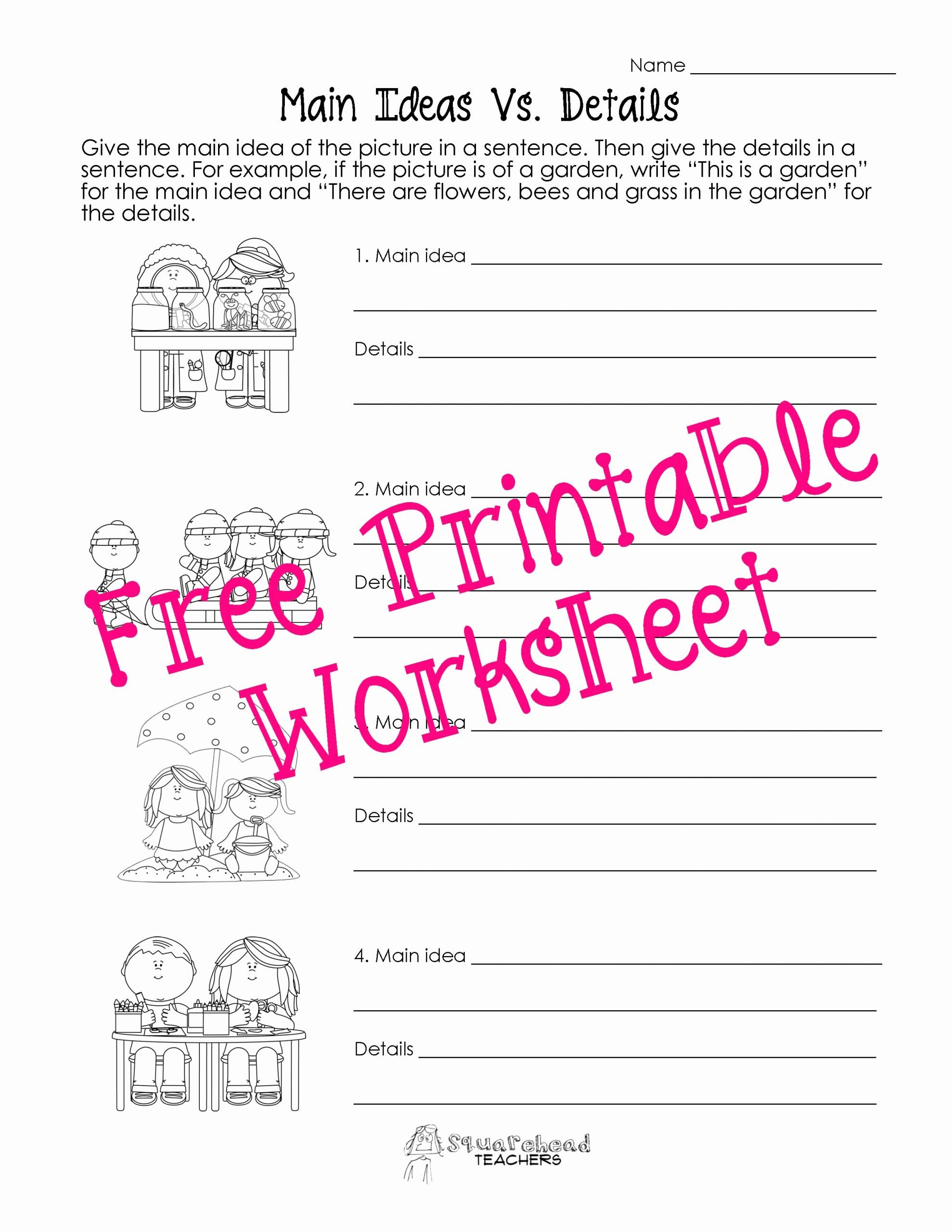 Main Idea First Grade Worksheets Lovely Main Idea Vs Details Worksheets