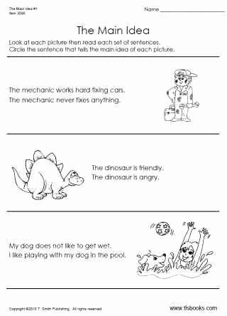 Main Idea Worksheet 1st Grade Inspirational Main Idea Worksheet 1 Early Reading Worksheet