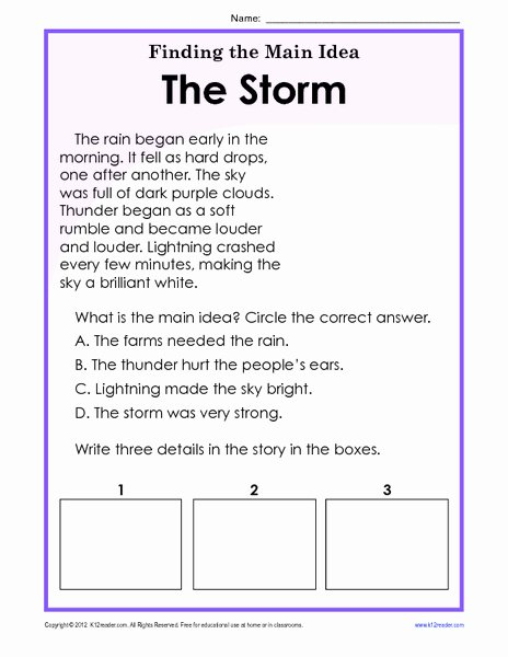 Main Idea Worksheet 2nd Grade top Finding the Main Idea Storm Worksheet for 1st 2nd Grade Free
