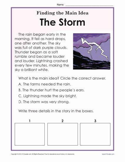 Main Idea Worksheet 3rd Grade top 1st or 2nd Grade Main Idea Worksheet About Storms