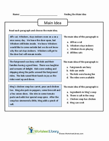 Main Idea Worksheet 4th Grade top Finding the Main Idea Worksheet for 4th 6th Grade Lesson