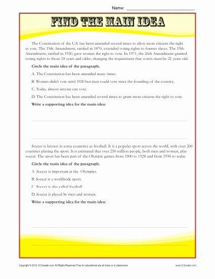 Main Idea Worksheet Middle School Ideas Middle School Main Idea Reading Passage Worksheet