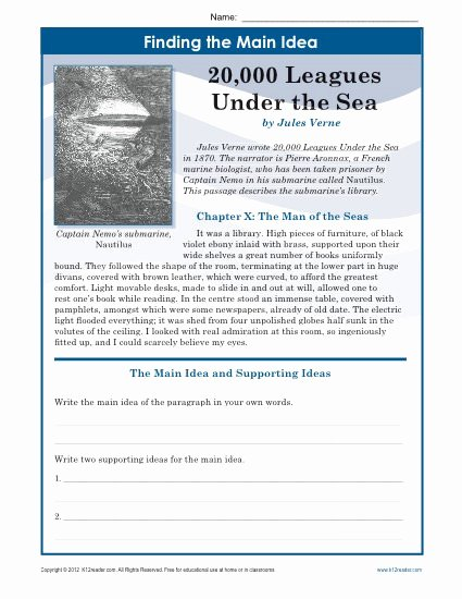 Main Idea Worksheet Middle School New Middle School Main Idea Worksheet About 20 000 Leagues Under