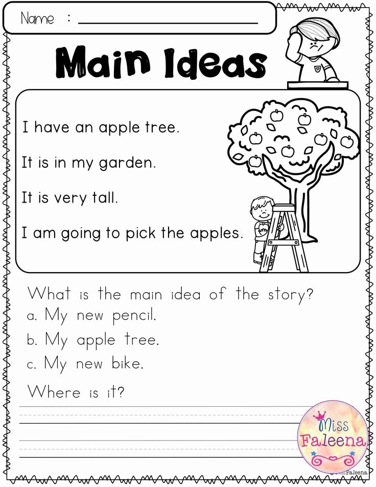 Main Idea Worksheets 1st Grade Lovely Free Reading Skills