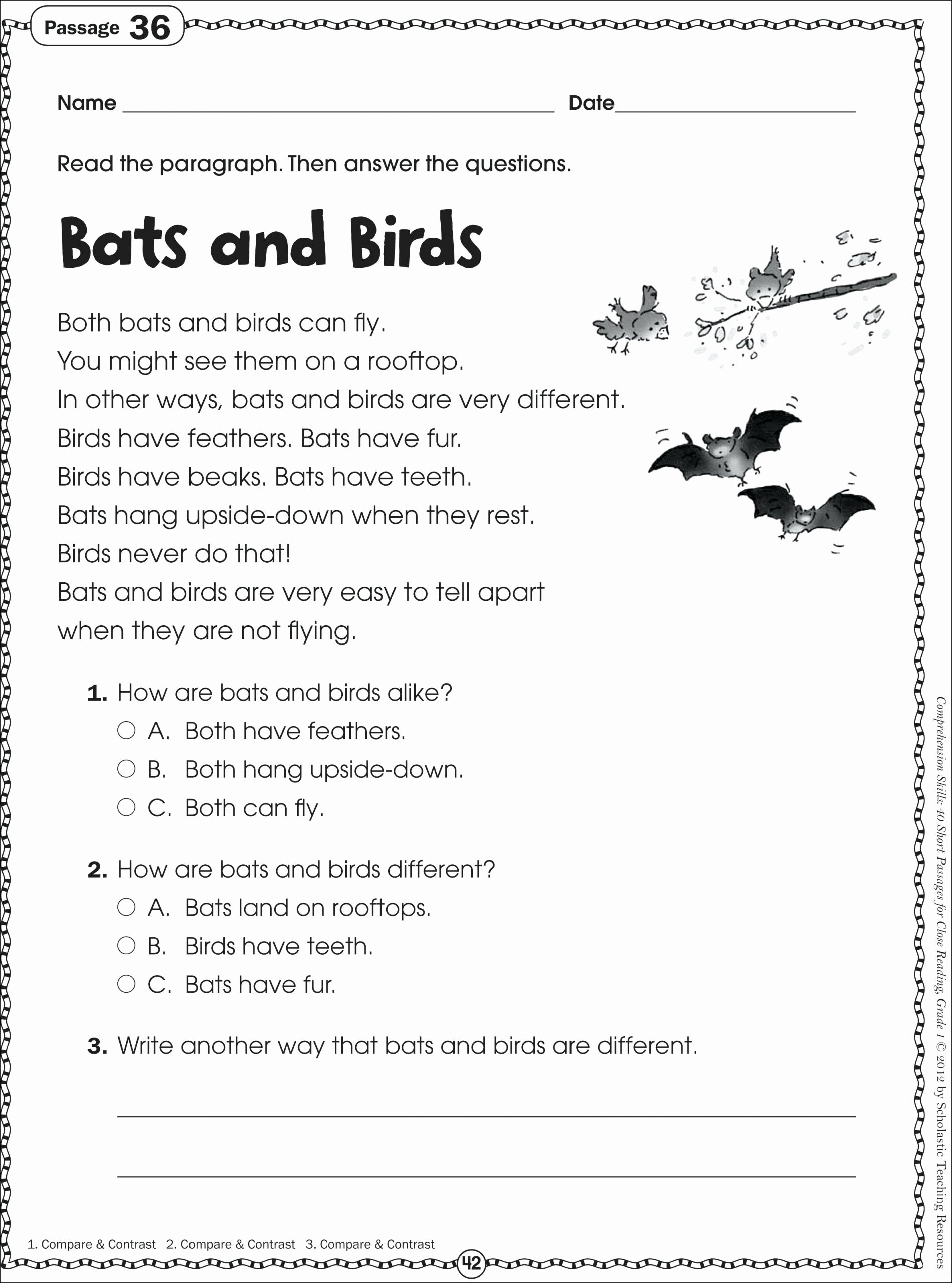 Main Idea Worksheets 1st Grade top 1st Grade Reading Passages Best solutions First