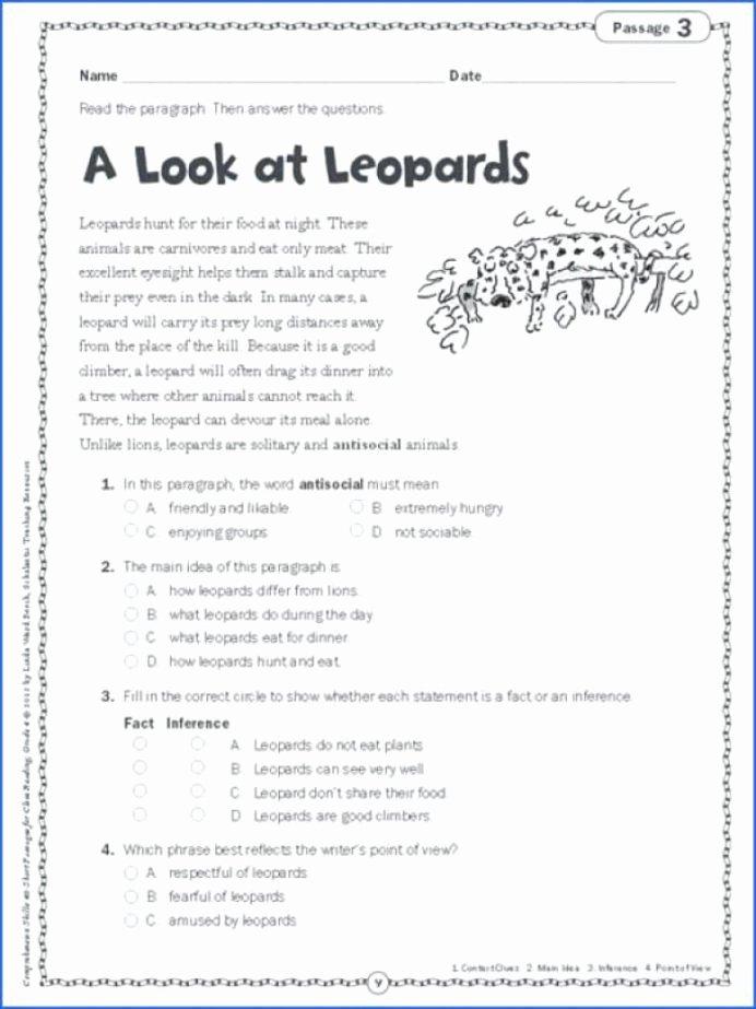Main Idea Worksheets 2nd Grade Printable Main Idea Worksheets 5th Grade for Printable Math Graders