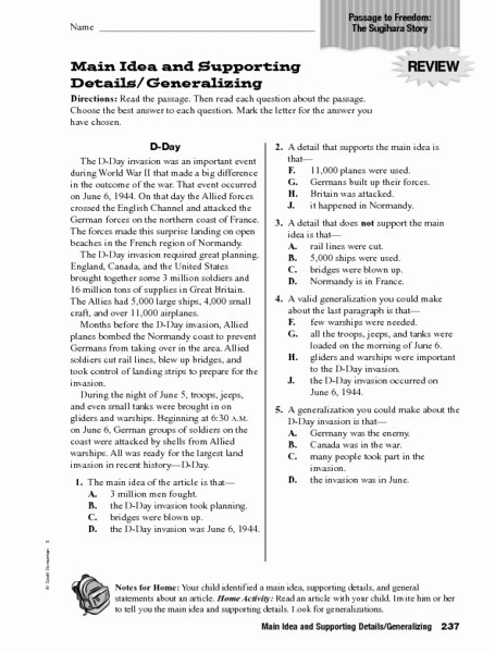 Main Idea Worksheets 3rd Grade top Main Idea and Supporting Details Generalizing Worksheet for