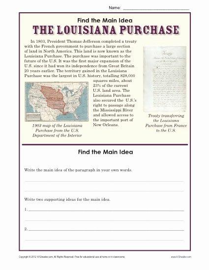Main Idea Worksheets 5th Grade Printable 5th Grade Main Idea Worksheet About the Purchase Worksheets