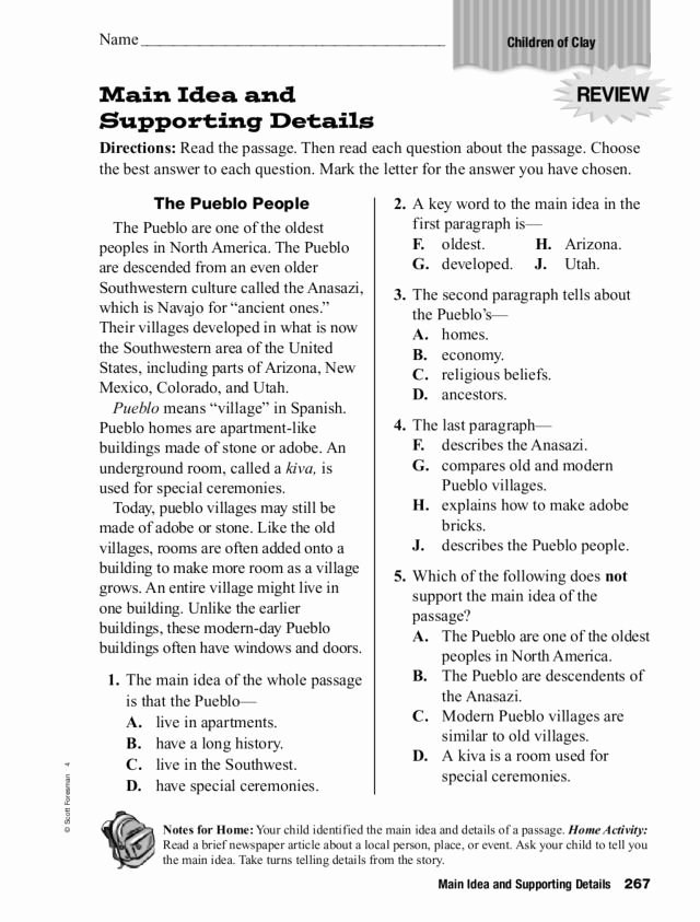 Main Idea Worksheets 6th Grade Inspirational Main Idea and Supporting Details 3rd 5th Grade Worksheet