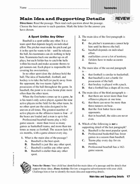 Main Idea Worksheets 6th Grade New Main Idea and Supporting Details Worksheet for 4th 6th Grade