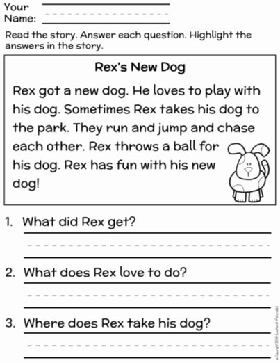 Main Idea Worksheets Grade 1 Fresh Free First Grade Reading Prehension Finding the Main Idea