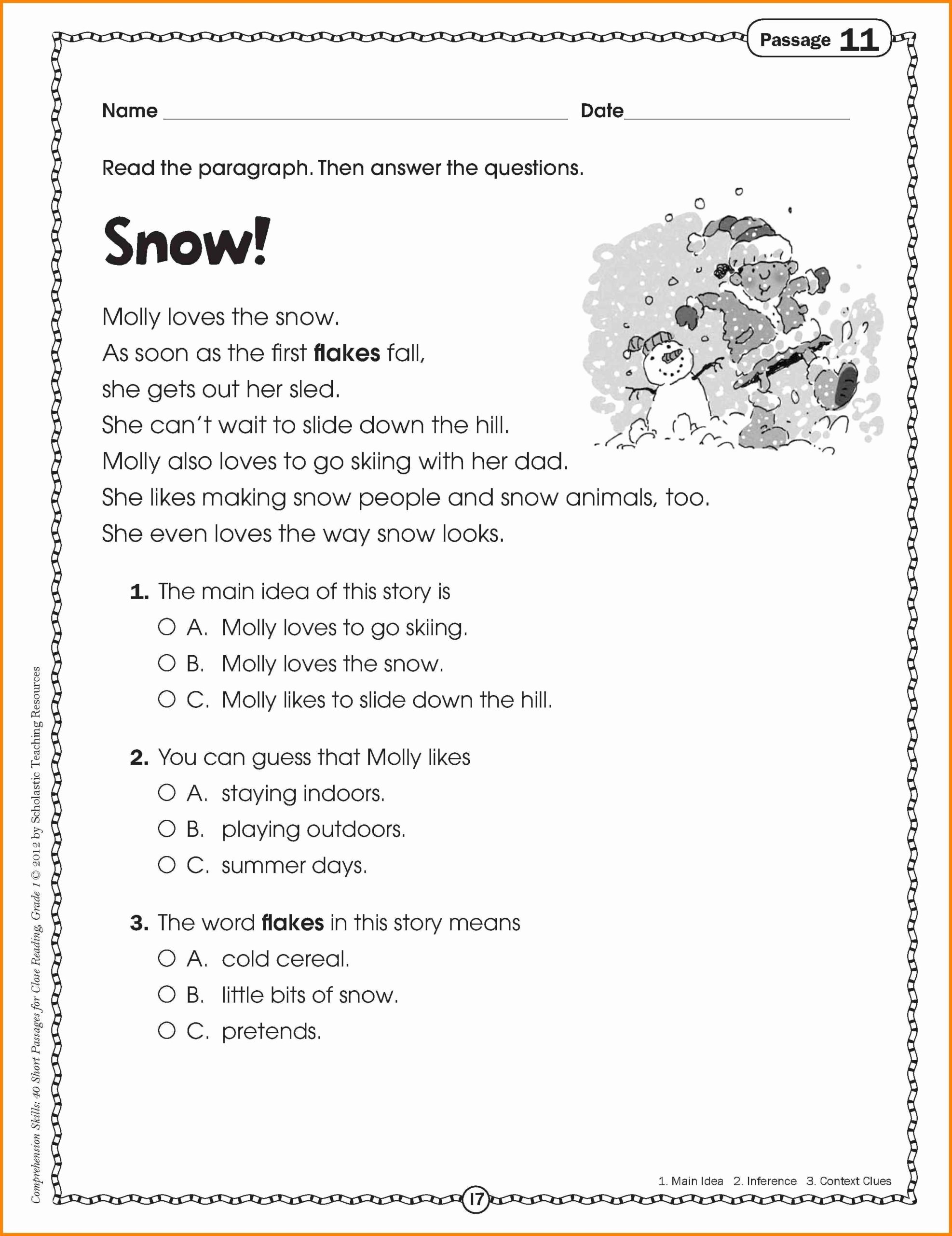 Main Idea Worksheets Grade 1 Fresh Math Worksheet Reading Passages for 2nd Grade Cath