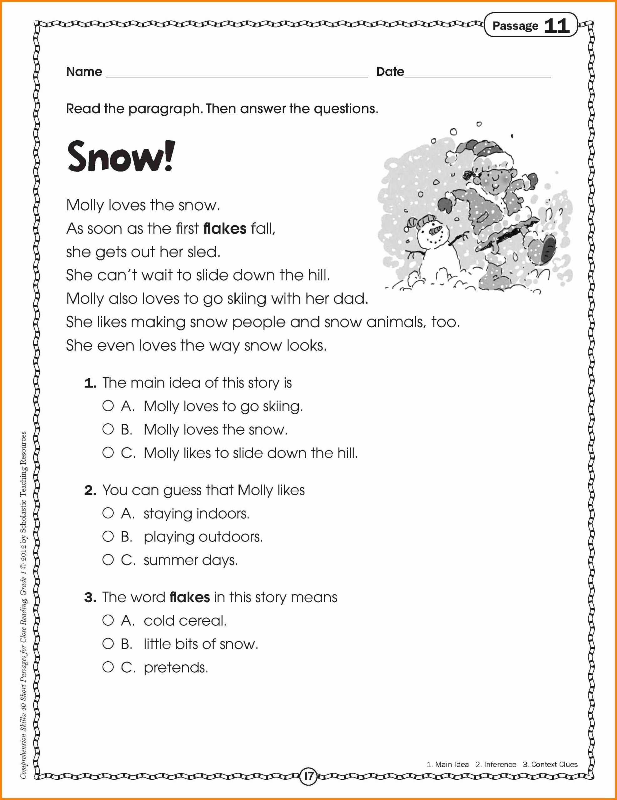 Main Idea Worksheets Grade 1 Fresh Math Worksheet Reading Passages for 2nd Grade Cath
