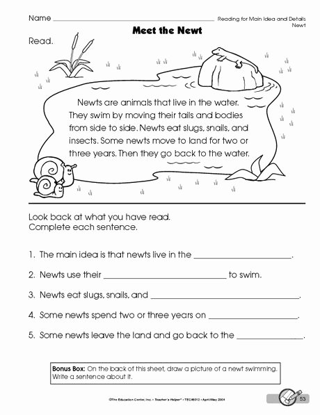 Main Idea Worksheets Grade 1 Kids Reading Worksheet Main Idea and Details the Mailbox