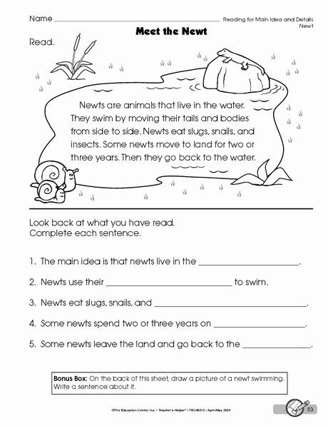 Main Idea Worksheets Grade 1 Kids Reading Worksheet Main Idea and Details the Mailbox
