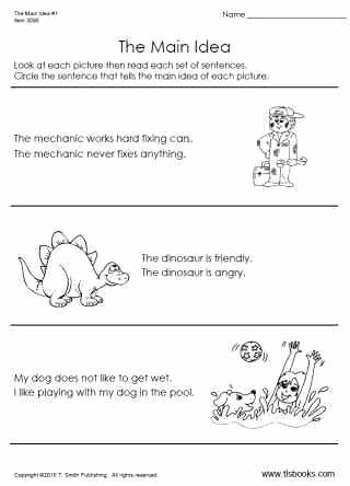 Main Idea Worksheets Grade 1 New Main Idea Worksheet 1 Early Reading Worksheet