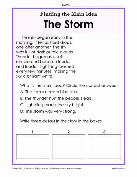 Main Idea Worksheets Grade 1 Printable Finding the Main Idea Worksheets 3rd Grade