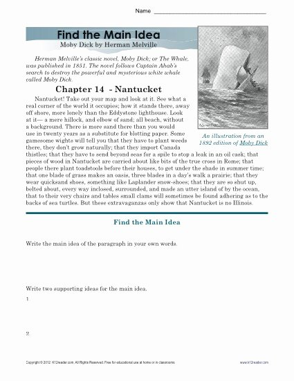 Main Idea Worksheets High School Best Of High School Main Idea Worksheet About Moby Dick
