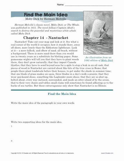 Main Idea Worksheets High School Best Of High School Main Idea Worksheet About Moby Dick