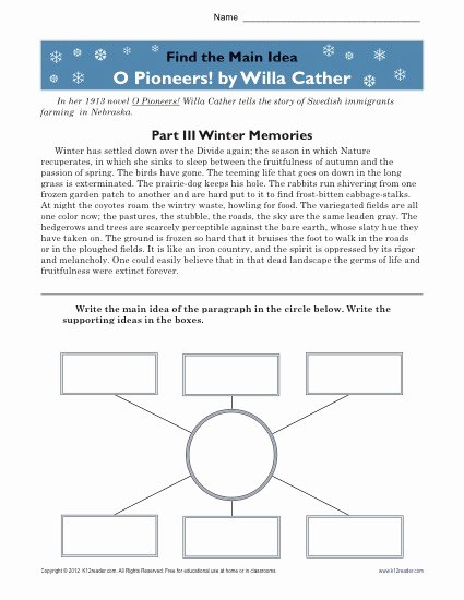 Main Idea Worksheets High School Best Of High School Main Idea Worksheet About O Pioneers