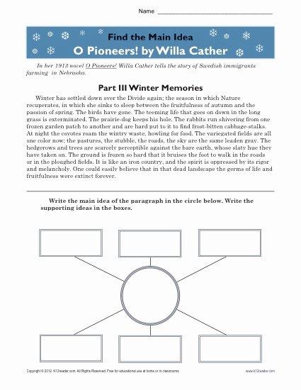Main Idea Worksheets High School Best Of High School Main Idea Worksheet About O Pioneers