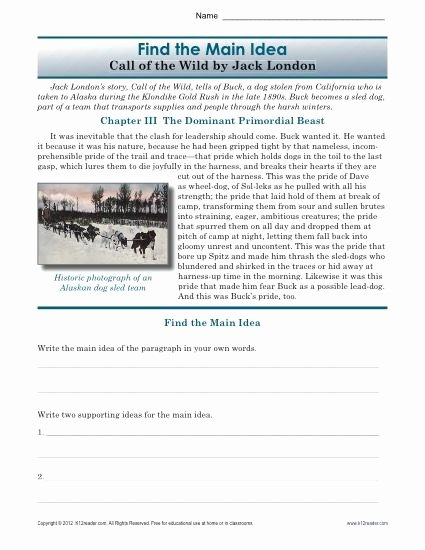 Main Idea Worksheets High School Best Of High School Main Idea Worksheet About the Book Call Of the