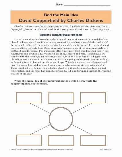 Main Idea Worksheets High School top High School Main Idea Worksheet About the Book David