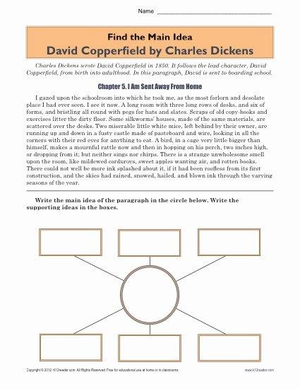 Main Idea Worksheets High School top High School Main Idea Worksheet About the Book David