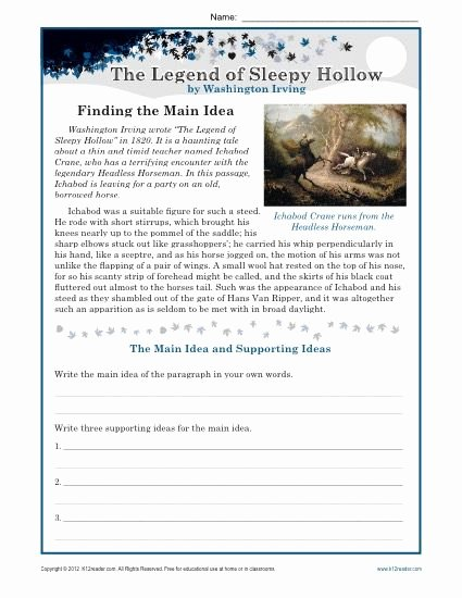 Main Idea Worksheets Middle School Free Middle School Main Idea Worksheet About the Legend Of Sleepy