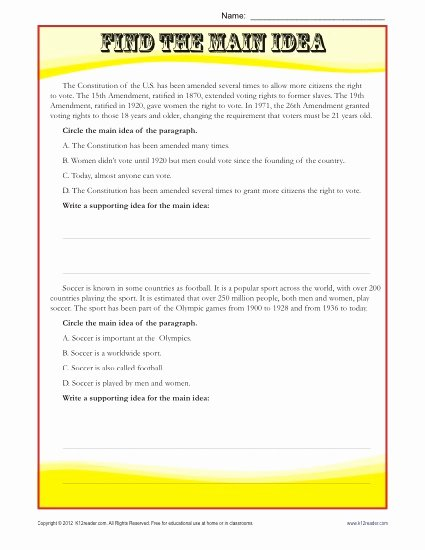 Main Idea Worksheets Middle School Kids Middle School Main Idea Reading Passage Worksheet