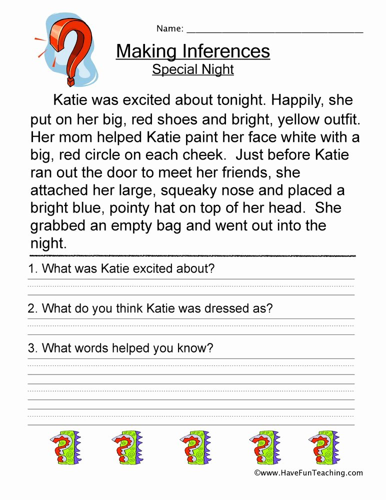 Making Inference Worksheets 4th Grade Ideas Making Inferences Special Night Worksheet