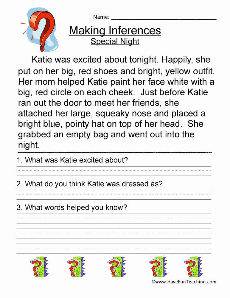 Making Inferences Worksheet 4th Grade top Making Inferences Special Night Worksheet