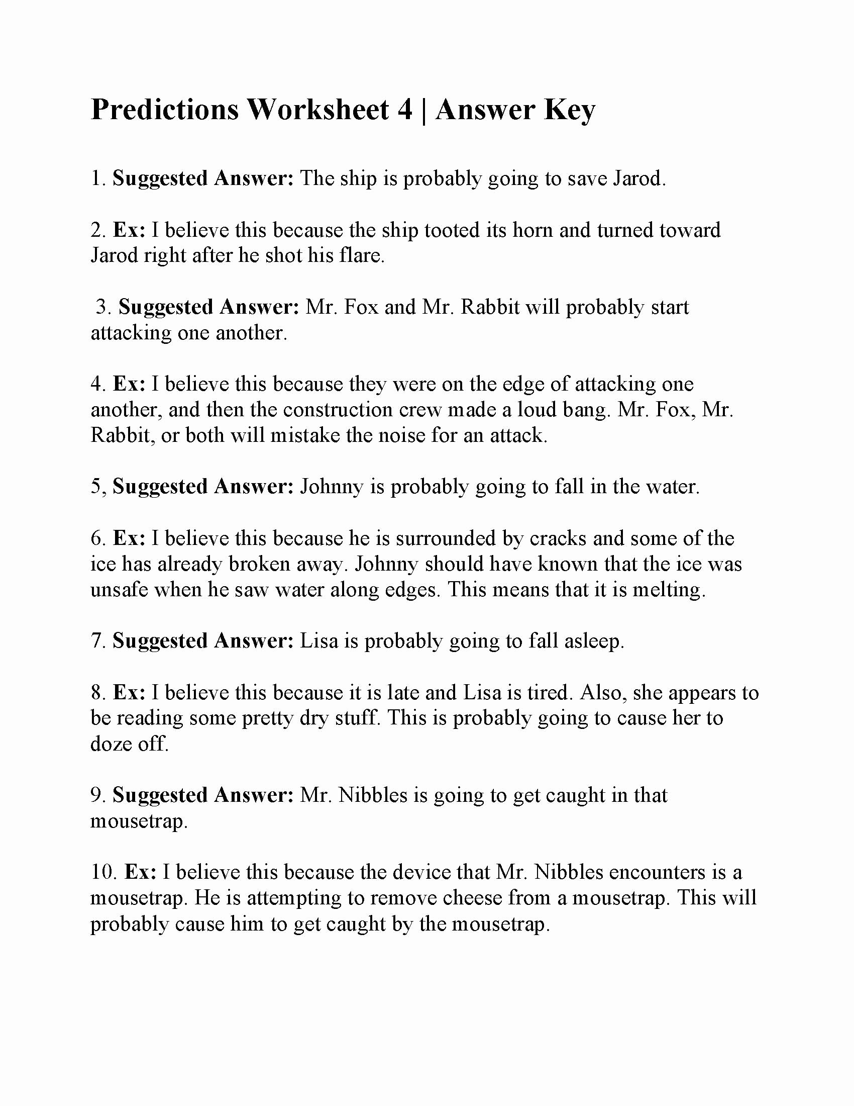 Making Predictions In Reading Worksheets Best Of Making Predictions Worksheet 4